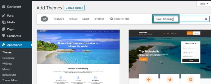 search wordpress theme