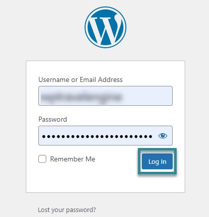 WordPress login dashboard