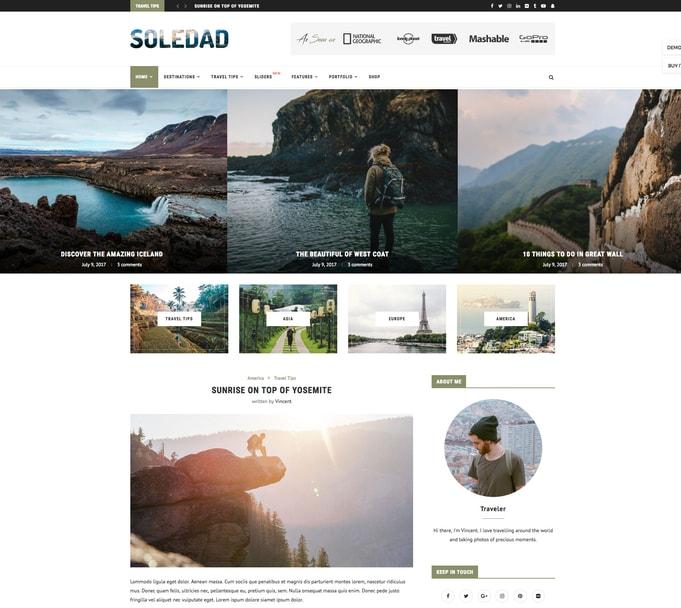 Soledad WordPress Travel Themes
