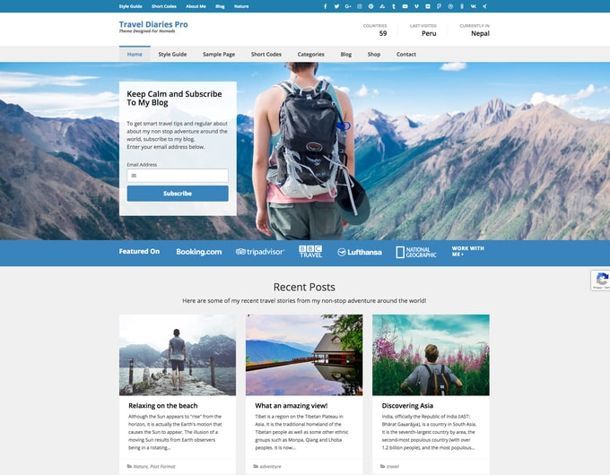 Travel Diaries Pro WordPress Theme
