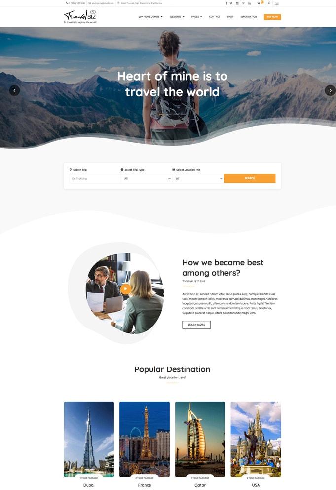 Travelbiz Pro WordPress Theme