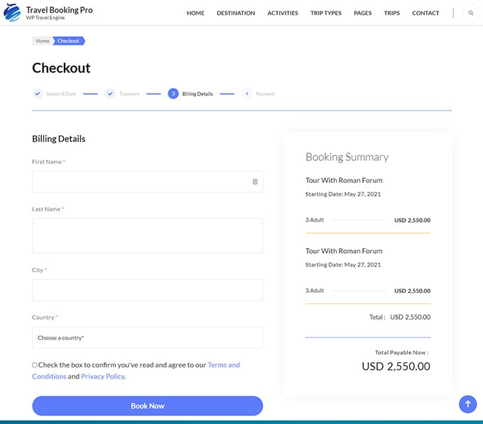 Booking system of WP Travel Engine