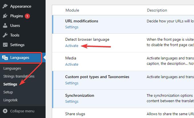 Activate Detect Browser Language