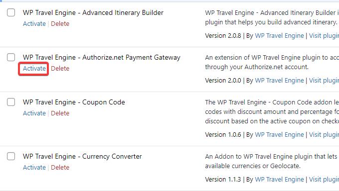 Activate Authorize.net payment gateway