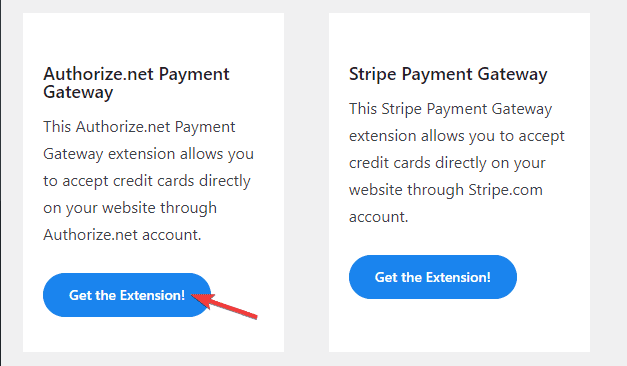 authorize.net payment gateway extension