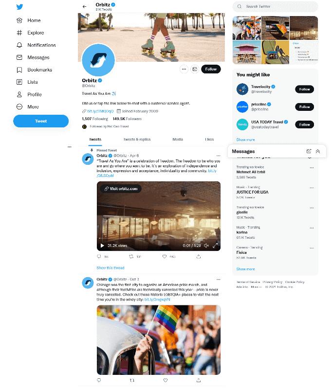 Orbitz Twitter Profile