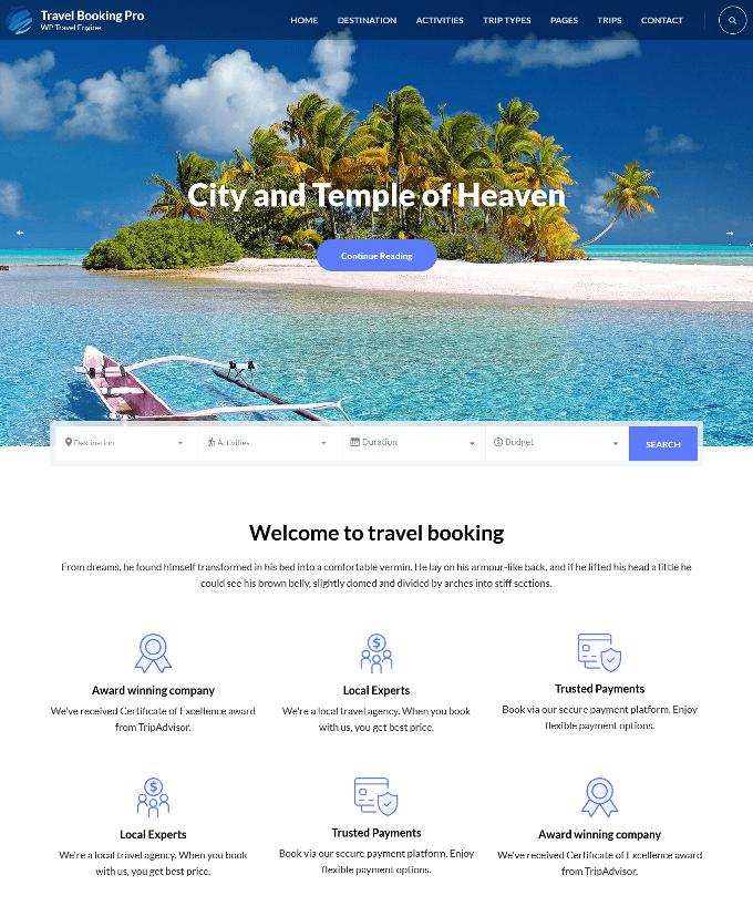 Travel Booking Pro WordPress Theme