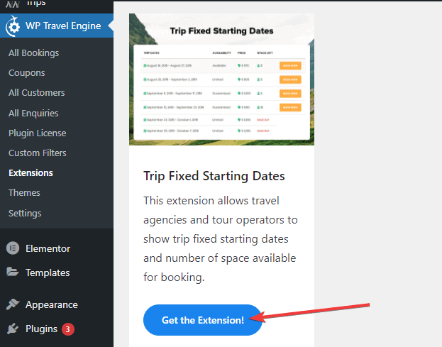 trip fixed starting dates extension