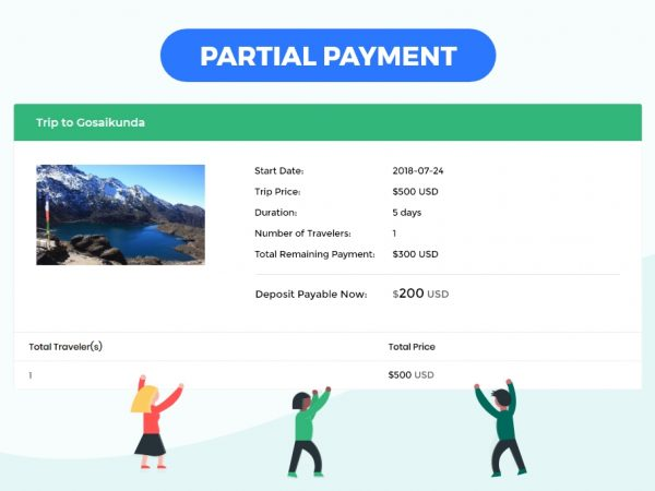Partial Payment section