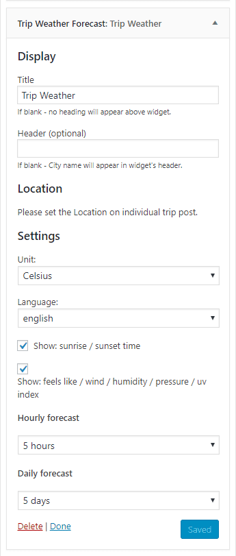customize weather-widget