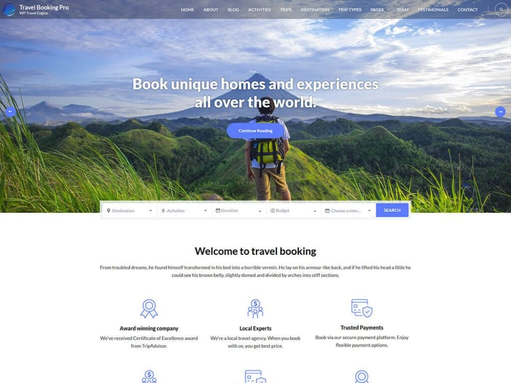 Travel Booking Pro WordPress Theme