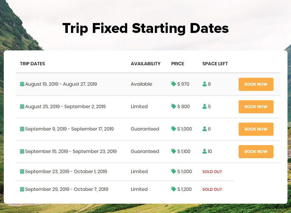 Trip Fixed Starting Dates banner