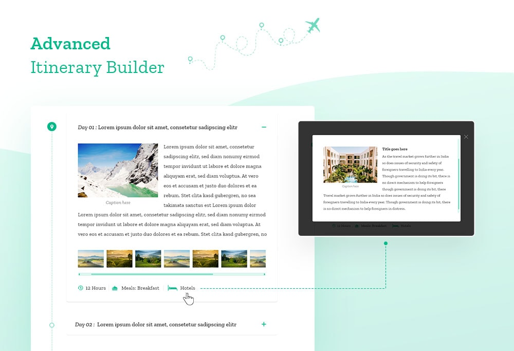 Advanced itinerary builder