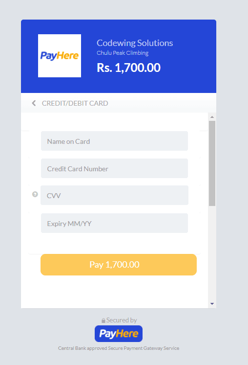 PayHere Payment section